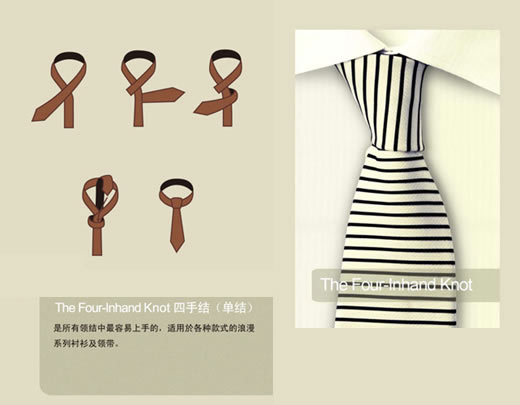 The four-in-hand Knot 四手结 (单结)