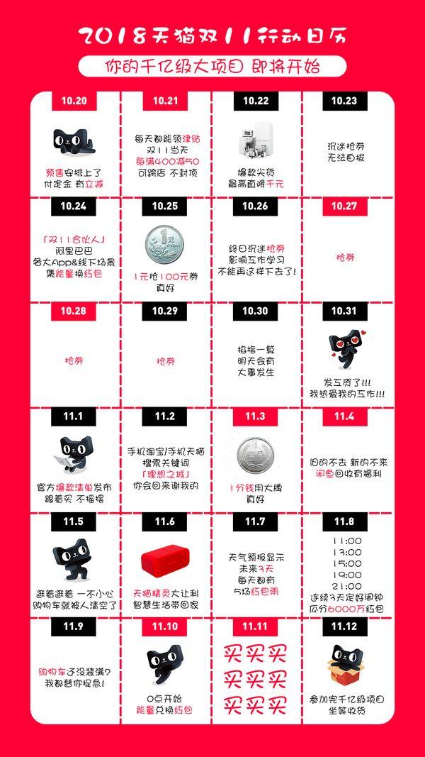 2018天猫双11行动日历