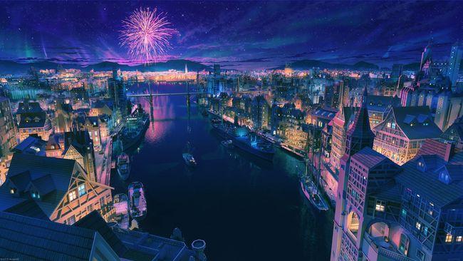 小镇的夜景