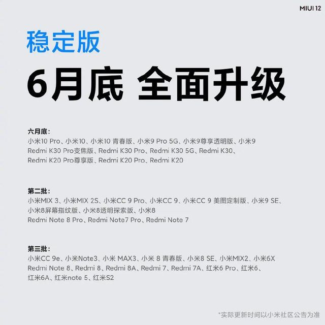 MIUI 12 稳定版的推送计划